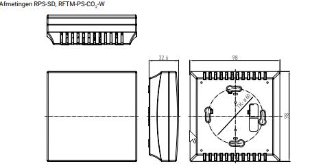 Multifunctionele ruimtesensor resp. meetomvormer voor vocht, temperatuur, fijnstof (PM) en CO2